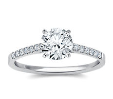 Petite Cathedral Pavé Diamond Engagement Ring in 18k White Gold (0.14 ct. tw.)