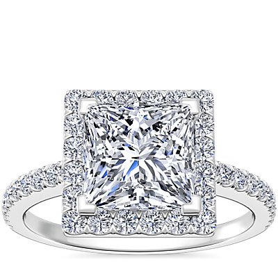 Princess Cut Halo Diamond Engagement Ring in 14K White Gold (0.20 ct. tw.)
