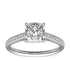 Bague de fiançailles diamant de famille cathédrale serti pavé Riviera en or blanc 14carats (0,12carat, poids total)