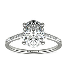 14k 白金小巧大教堂密钉钻石订婚戒指<br>(1/6 克拉总重量)