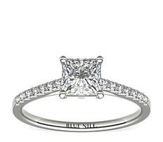 14k 白金小巧大教堂密釘鑽石訂婚戒指(1/6 克拉總重量)