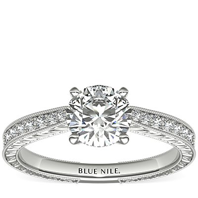 Engraved Micropavé Diamond Engagement Ring in 14k White Gold