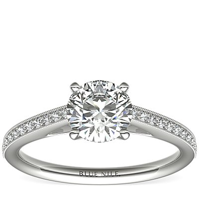 Riviera Pavé Heirloom Cathedral Diamond Engagement Ring in 14k White Gold (0.12 ct. tw.)