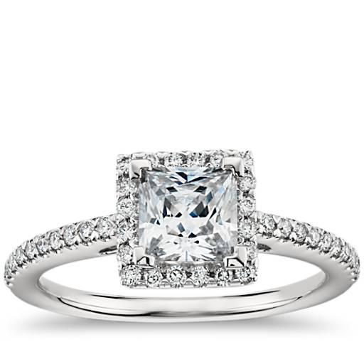 Princess Cut Halo Diamond Engagement Ring in 14K White ...