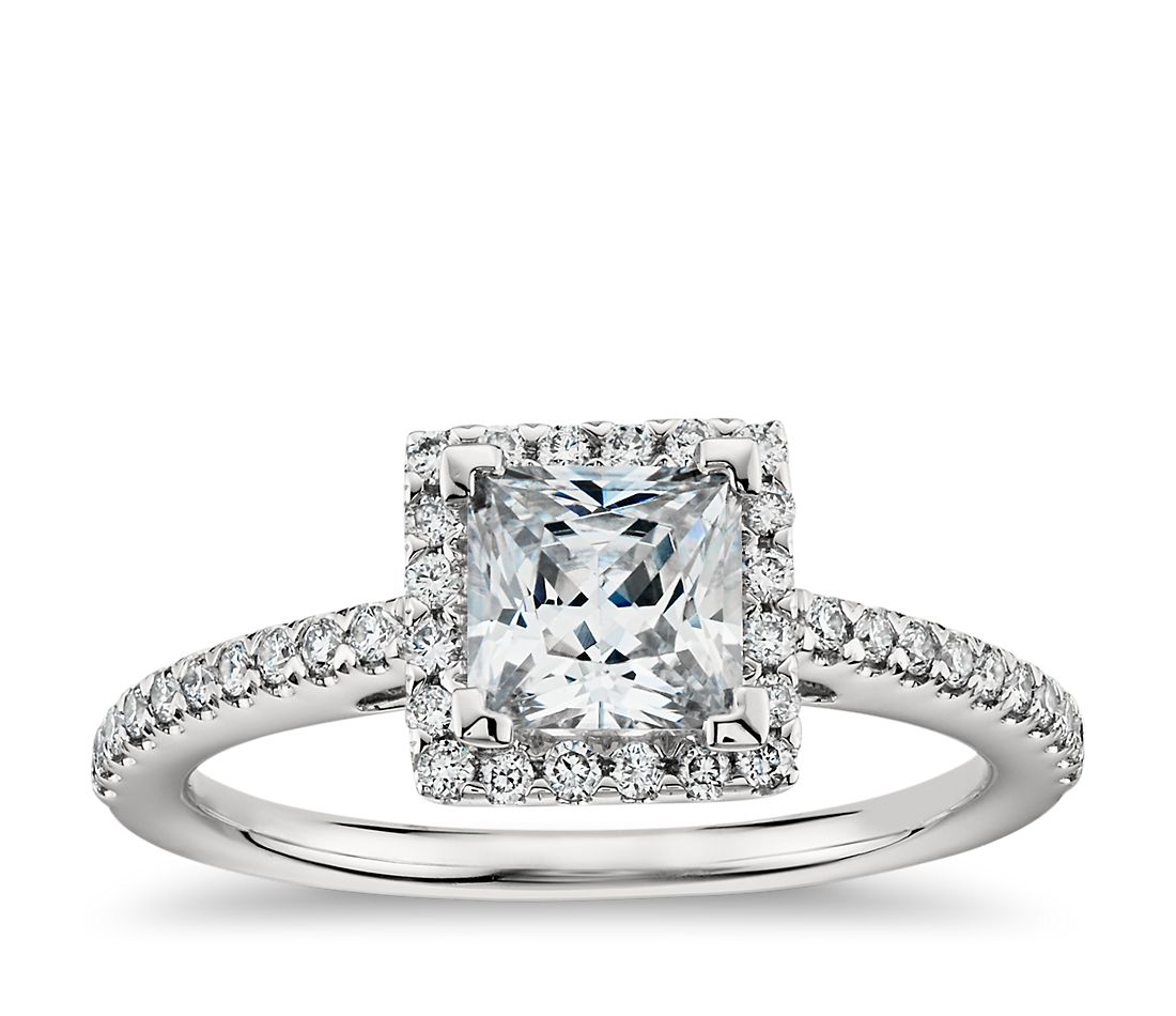princess cut halo diamond engagement ring in 14k white gold - Princess Cut Diamond Wedding Rings