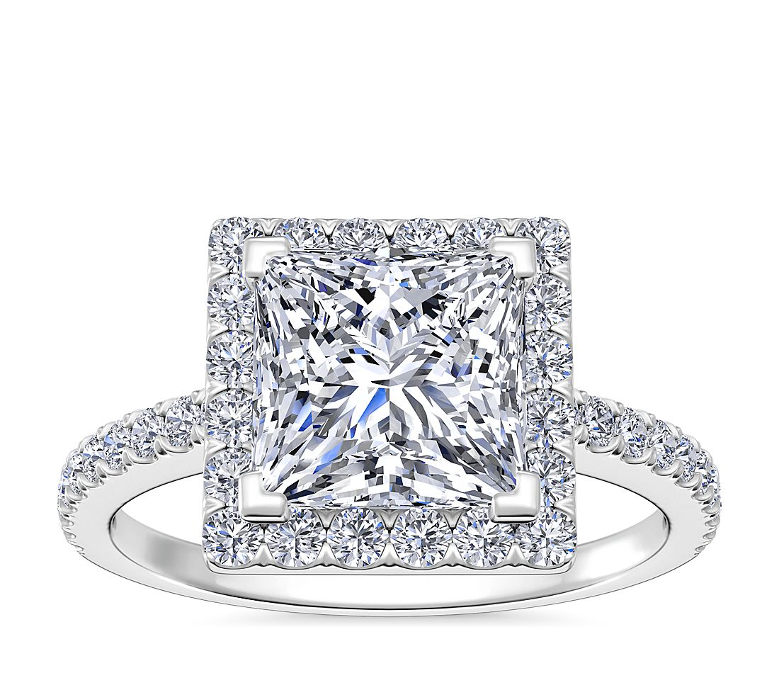 Princess Cut Halo Diamond Engagement Ring In 14k White Gold Blue
