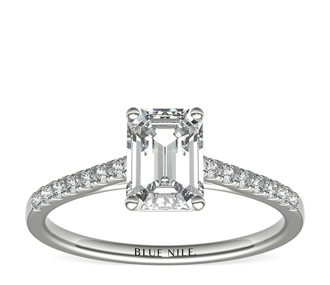 1.5ct.EC in *Delicate* Petite Cathedral Pavé Engagement Ring 14KWG (1.25 - 3 CT)