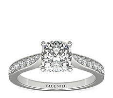 Cathedral Pavé Diamond Engagement Ring in 18k White Gold (0.23 ct. tw.)