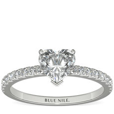 Petite Pavé Diamond Engagement Ring in 14k White Gold (0.24 ct. tw.)