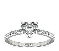 Bague de fiançailles en diamants sertis pavé de petite taille en or blanc 14carats (0,24carat, poids total)