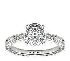 Bague de fiançailles gravée en diamants sertis micro-pavé en or blanc 14carats (0,14carat, poids total)