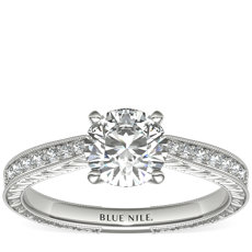 Engraved Micropavé Diamond Engagement Ring in 14k White Gold (0.14 ct. tw.)
