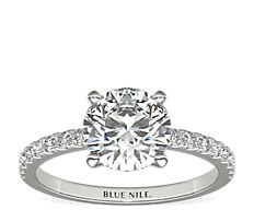 Anillo de compromiso estilo pequeño pavé de diamantes en oro blanco de 14 k (0,24 qt. total)