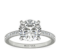 Petite Pavé Diamond Engagement Ring in 14k White Gold (0.24 ct. tw.)