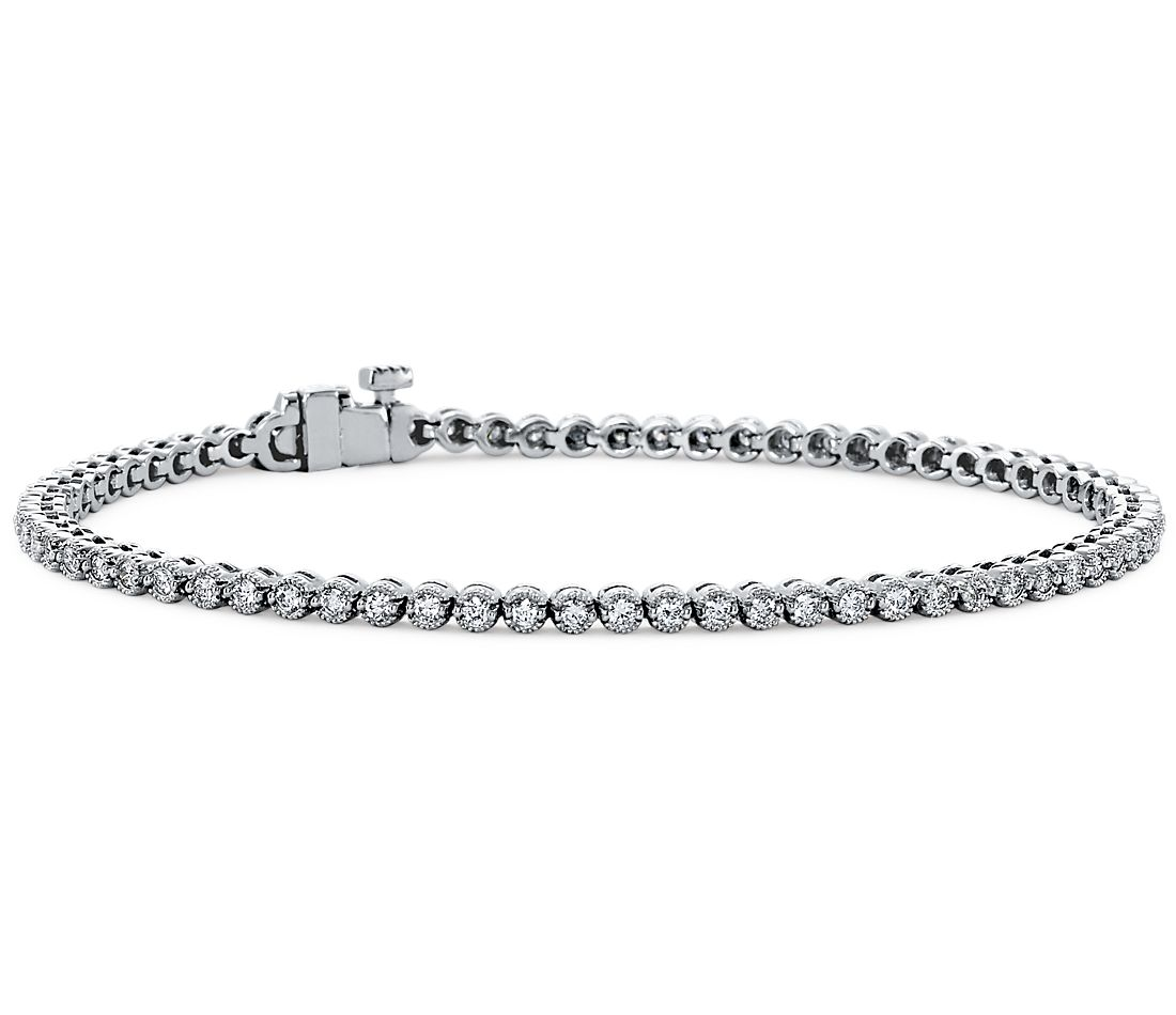 Diamond Tennis Bracelet In 18k White Gold 1 Ct Tw