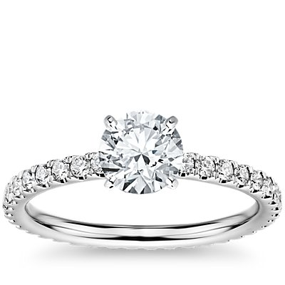 Diamond Eternity Engagement Ring in 14k White Gold