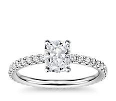Bague de fiançailles d'éternité en diamants en or blanc 14carats (0,44ct, poids total)