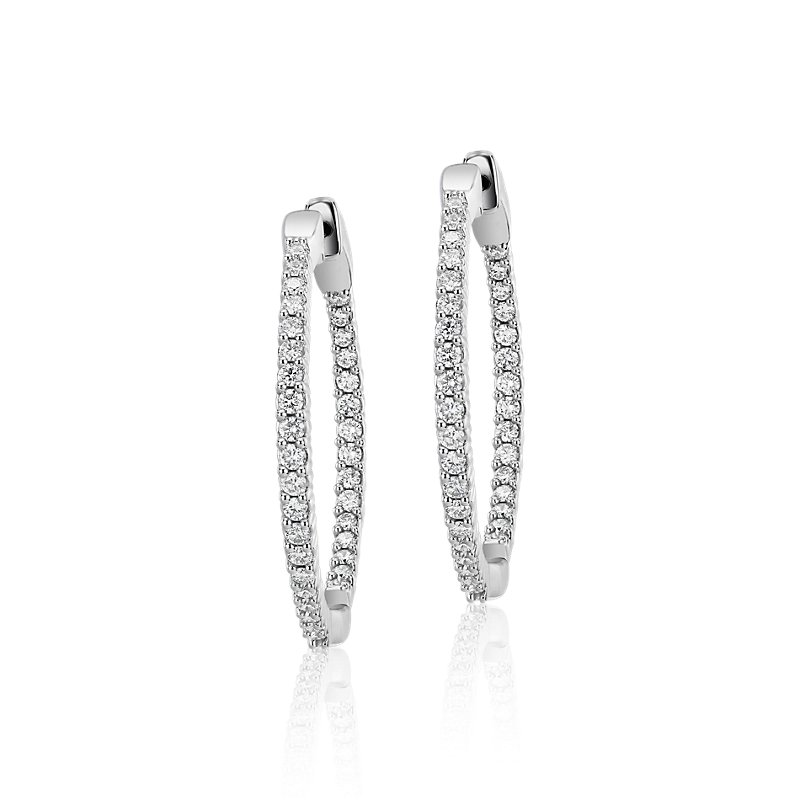 Diamond Eternity Hoop Earrings in 14k White Gold- I/I1 (1 ct. tw.