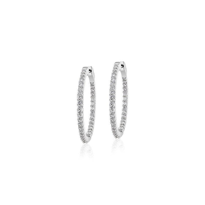 Diamond Eternity Hoop Earrings in 14k White Gold- I/I1 (1 1/2 ct.