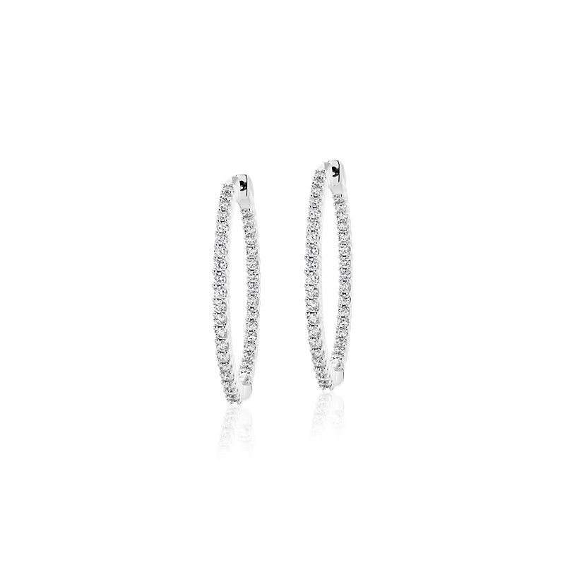 Diamond Eternity Hoop Earrings in 14k White Gold- I/I1 (2 ct. tw.)