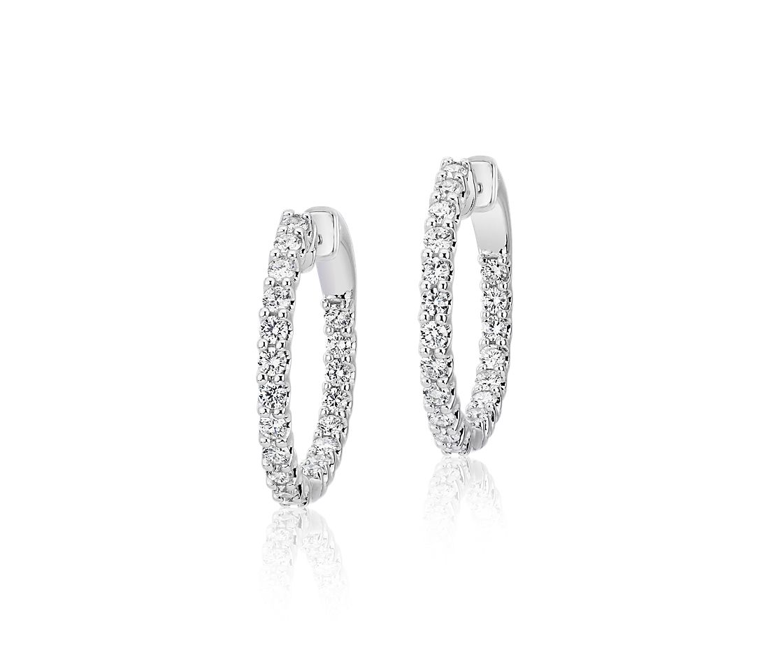 Diamond Eternity Hoop Earrings in 18k White Gold (1 ct. tw.)- G/SI
