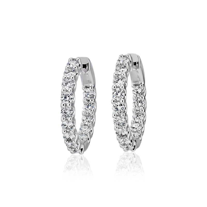 Diamond Eternity Hoop Earrings in 18k White Gold (2 ct. tw.)- G/SI