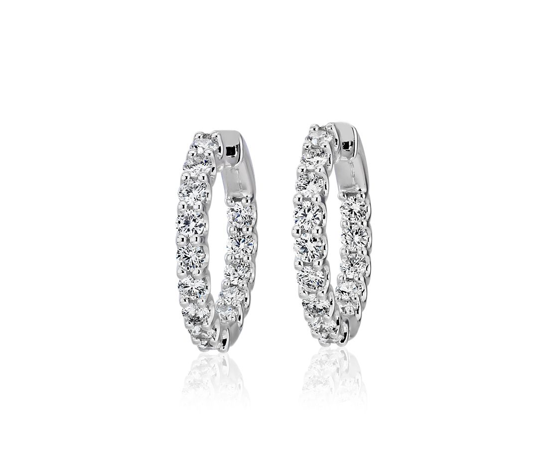 Diamond Eternity Hoop Earrings in 18k White Gold (2 ct. tw.)- G/SI