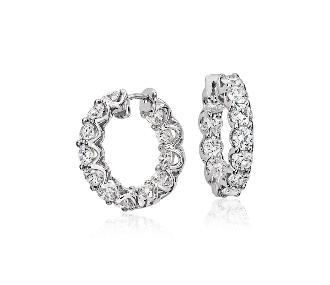 Diamond Eternity Hoop Earrings In 18k White Gold 3 Ct Tw
