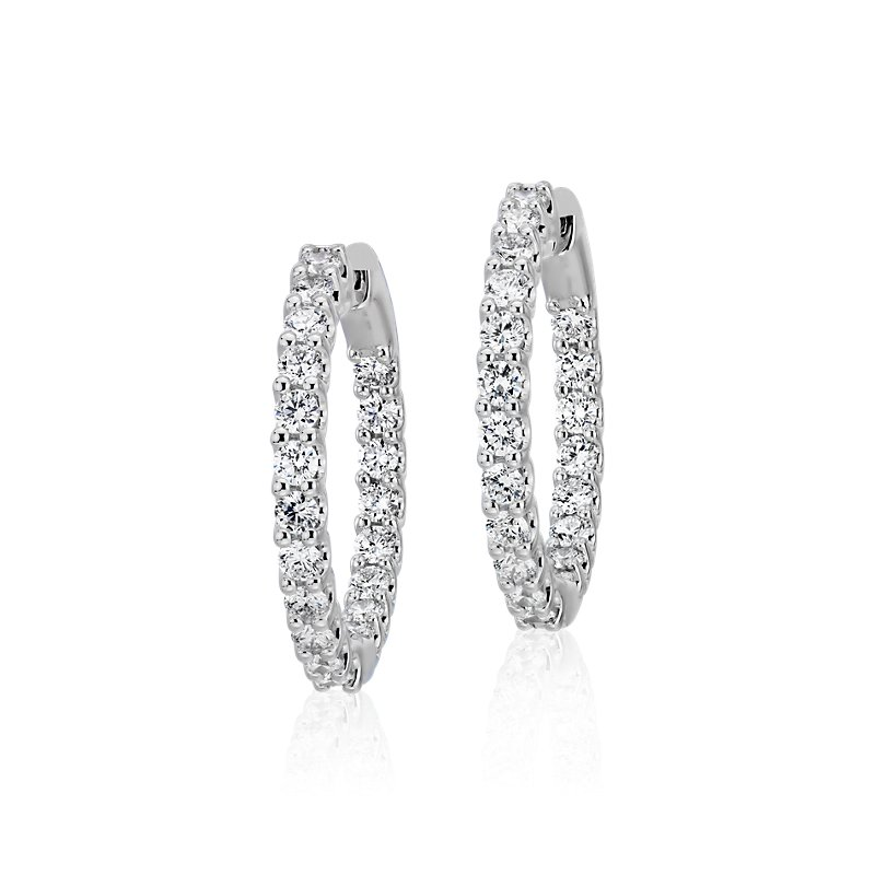 Diamond Eternity Hoop Earrings in 18k White Gold (1 1/2 ct. tw.)-
