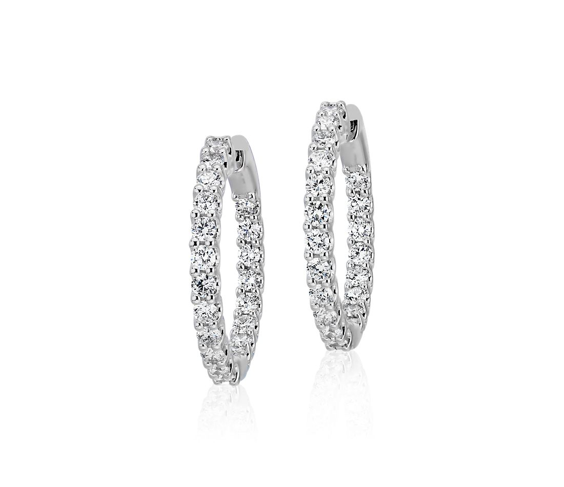 Diamond Eternity Hoop Earrings in 18k White Gold (1 1/2 ct. tw.)- G/SI