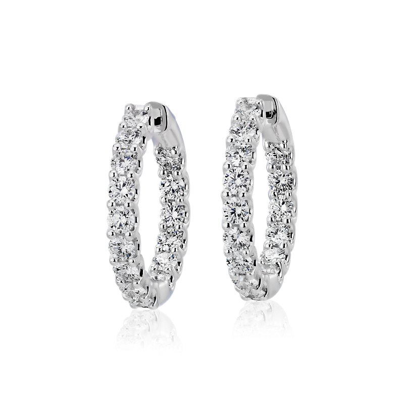 Diamond Eternity Hoop Earrings in 18k White Gold (3 ct. tw.)- G/S