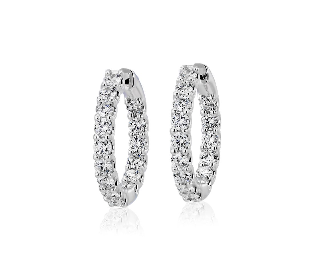 Diamond Eternity Hoop Earrings in 18k White Gold (3 ct. tw.)- G/SI