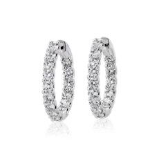 18k 白金(3 克拉總重量)永恆限鑽石圈形耳環- G/SI