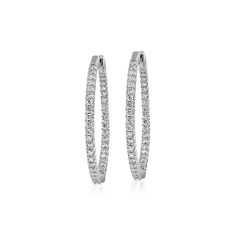 Diamond Eternity Hoop Earrings in 14k White Gold- I/I1 (3 ct. tw.
