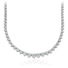 Collar de eternidad de diamantes en oro blanco de 18 k (10 qt. total)
