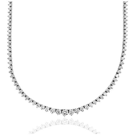 diamond eternity necklace in 18k white gold f vs 5 ct