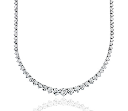 Collar de eternidad de diamantes en oro blanco de 18 k F/VS(10 qt. total)