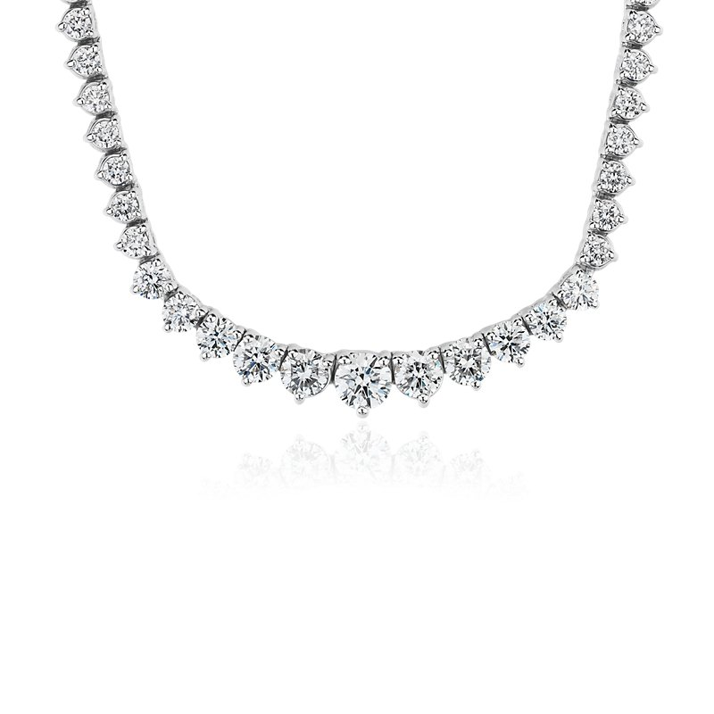 Diamond Eternity Necklace in 18k White Gold- F/VS2 (5 ct. tw.)