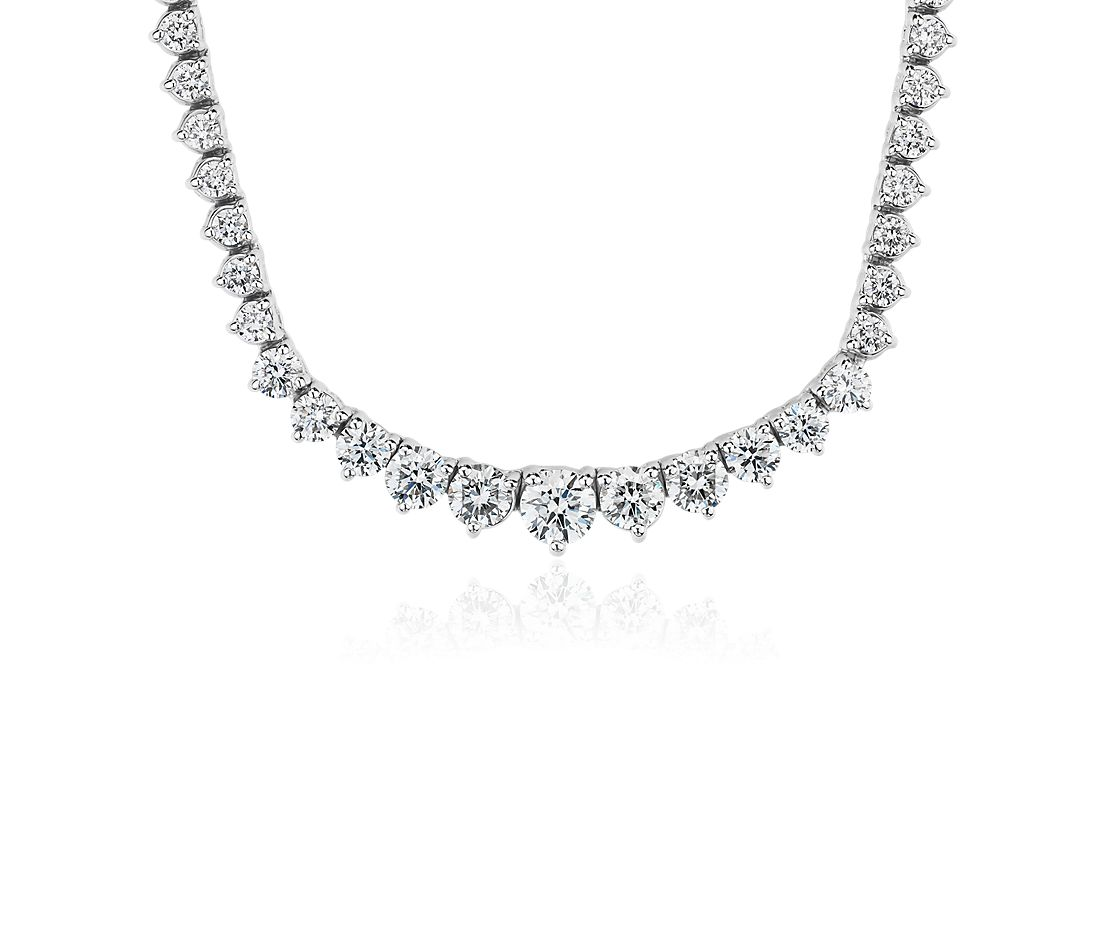 Diamond Eternity Necklace in 18k White Gold- F/VS2 (5 ct. tw.)