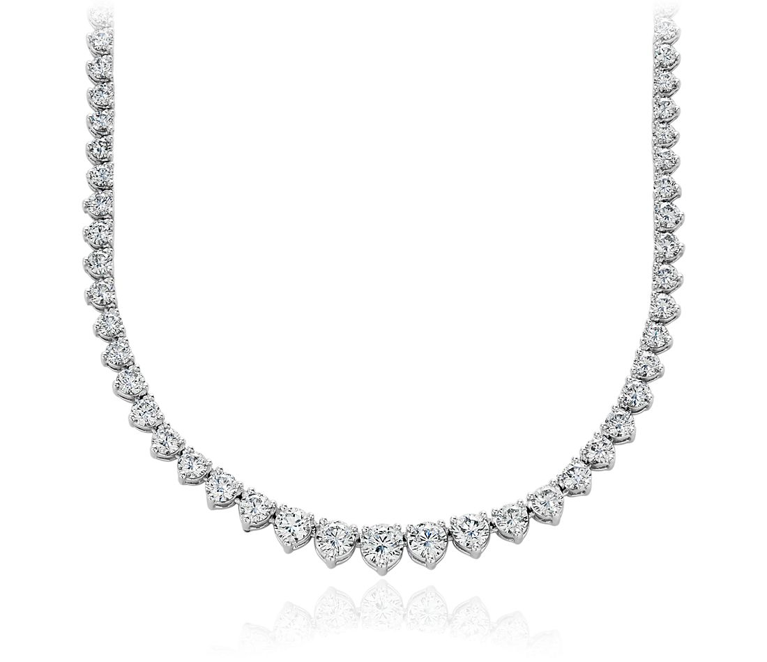 Diamond Eternity Necklace in 18k White Gold