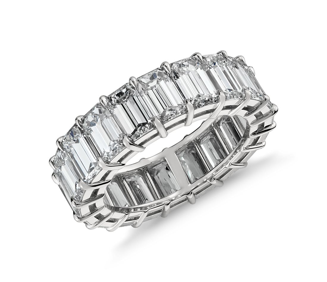 Emerald Cut Diamond Eternity Ring in Platinum, 9 ct. tw.