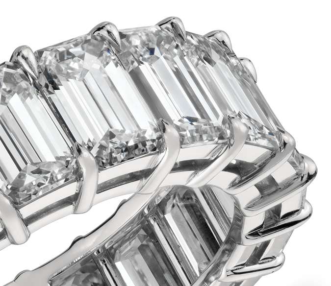 Emerald Cut Diamond Eternity Ring in Platinum (9.00 ct. tw.)