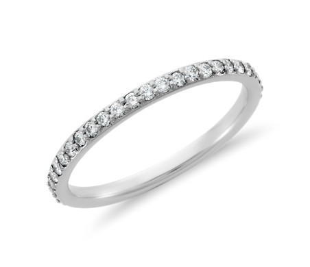 Blue Nile Riviera Petite Micropave Diamond Eternity Ring in 14k White Gold (1/4 ct. tw.) PZrWh16cKi