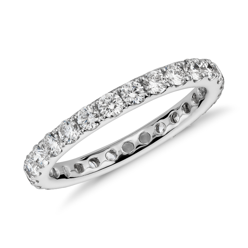 Riviera Pavé Diamond Eternity Ring in 14k White Gold (1 ct
