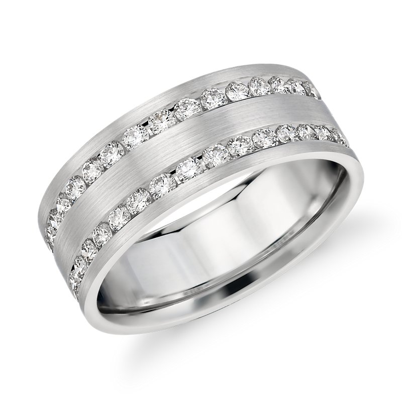 Double Inlay Diamond Wedding Ring in 14k White Gold (1 ct. tw.)
