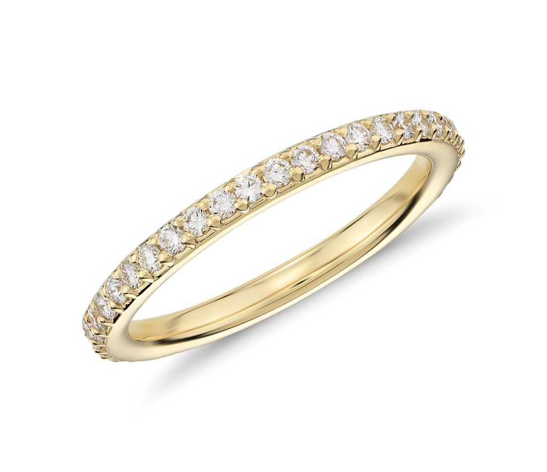pav 233 eternity ring in 18k yellow gold 1 2 ct tw