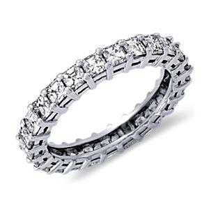 Bague d'éternité diamant taille Asscher en platine (2carats, poids total)
