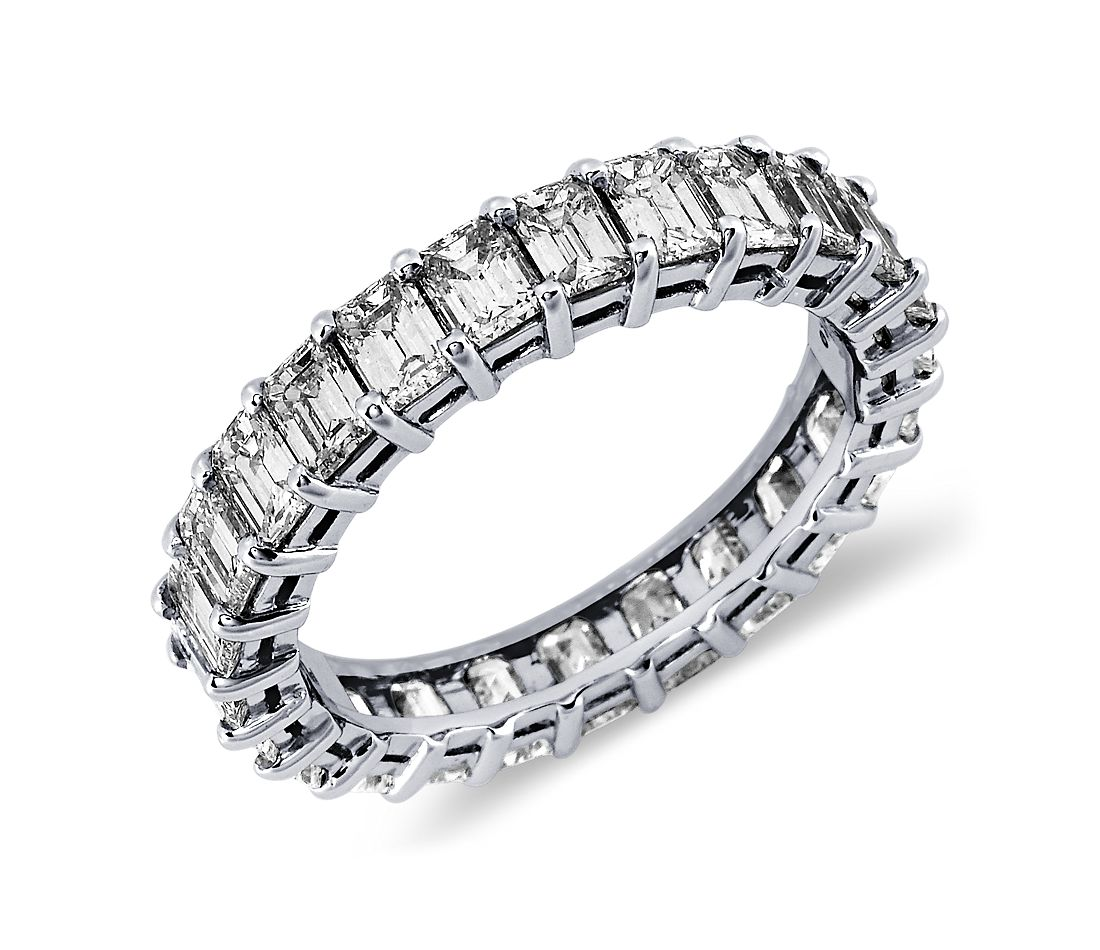 Emerald Cut Diamond Eternity Ring in Platinum (3 ct. tw.)