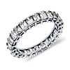 Anillo de eternidad de diamantes de talla esmeralda en platino (3 qt. total)