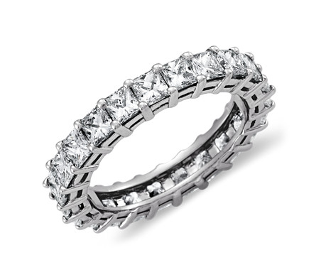 铂金公主方形钻石永恒戒指<br>(3 克拉总重量)